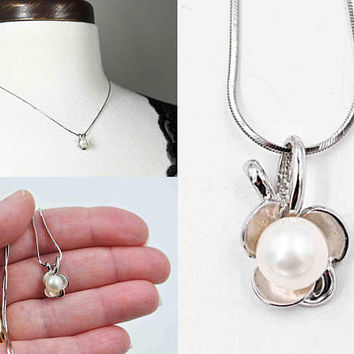 Vintage 14K White Gold Pearl Pendant Necklace, Milros Italy, White Pearl, Shamrock, Square Snake Chain, Wedding, Lovely! #c295