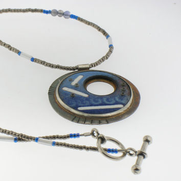 Enamel Necklace with Seed Beads and Iolite Handmade