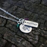 Mother Necklace - SOLID Sterling Silver Mother, Tree of Life Charms . Personalized Mother's Day Gift . Birthstone Necklace . Daughters