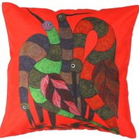 SouvNear**Items on Sale** - Birds Throw Pillow Covers Red - 18x18 Inch Cushion Cover with Zipper - Decorative Modern Throw Pillows Case for Sofa Bed Couch Ottoman Living Room Décor