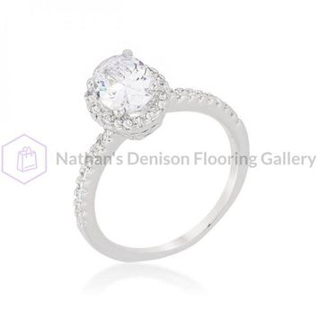Oval-cut Floating Halo Cubic Zirconia Engagement Ring (size: 09) R08388R-C01-09