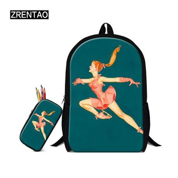 University College Backpack ZRENTAO 2Pcs/set Stylish Canvas School Bags With Pen Box for Teenage Girls Vintage 3D Pattern Female s  mochilaAT_63_4