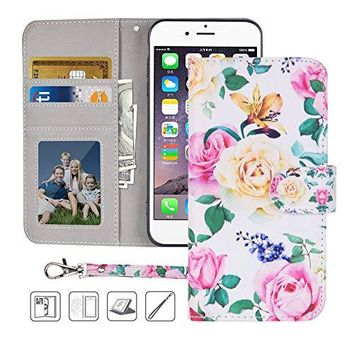 iPhone 6S Wallet Case,iPhone 6 Wallet Case, Premium PU Leather Flip Folio Case Cover with Wrist Strap,Card Slots,Cash Pocket,Kickstand for Apple iPhone 6S/iPhone 6 4.7 inch