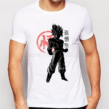 Son Goku Printing Tee 2016 Men's Fashion Japan Anime Dragon Ball Z T Shirt Super Saiyan shirt  Hipster Hot Tops Men Clothing