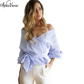 2017 Blusa Women'S Shirts Off Shoulder Striped Blouse Sexy V-neck White Shirt Female Casual Cotton Wrap Tie Top Blusa Femininas