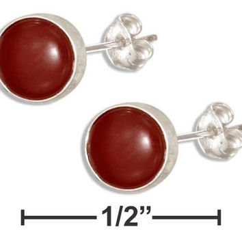 STERLING SILVER 5MM ROUND SIMULATED CARNELIAN POST EARRINGS