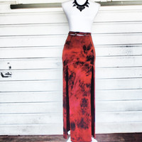 Steampunk Maxi Skirt • Split High • Bleach Art • Khaleesi Apocalyptic High Waisted Tie-Dye, Gypsy Burning Man, Witch, Wicca Upcycled Vintage