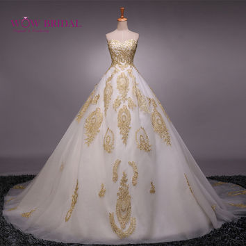 Wowbridal A-Line Wedding Dress Embroidery Gold with white Sweetheart vestido de noiva Appliqued Lace Bridal Gown Wedding Dress