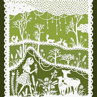 Girl and Deer in a Meadow - Original Papercut Illustration - Green and White - 8x10 Print
