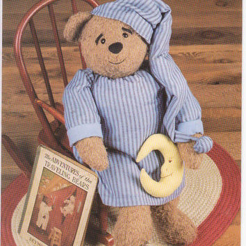 Pattern for PJ bear 28 inch stuffed plush bear with nightshirt and cap by Amy Martin for Indygo Junction IJ401 UNCUT