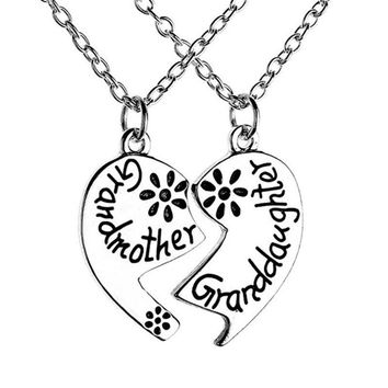 2pcs/Set Fashion Grandmother Granddaughter Pendants Necklaces Love Heart Pendant Necklace Jewelry Gift