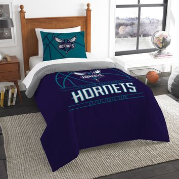 """Hornets OFFICIAL National Basketball Association, Bedding, """"Reverse Slam"""" Printed Twin Comforter (64""""x 86"""") & 1 Sham (24""""x 30"""") Set  by The Northwest Company"""