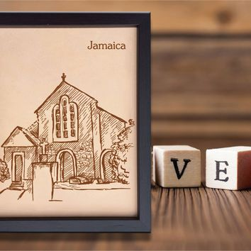 Lik215 Leather Engraved Wedding 3rd anniversary Jamaica Island Caribbean islands name date
