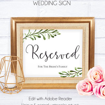 Wedding Reception Wedding Signs, Customizable Poster, Wedding Accessory, Reception Decor, Reserved Wedding, Reserved for Family, Custiomize