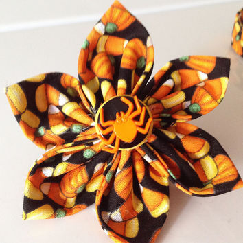 Halloween Candy Corn Flower for Female Dog and Cat Collar
