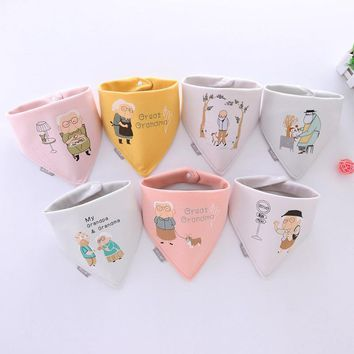 baby bibs for newborn baby boy&girl cotton soft print grandma grandpa bib burp cloths infant bandana