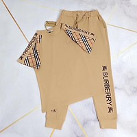 burberry Women Letter Print Short Sleeve Top Pants Two-Piece
