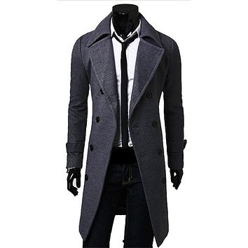 Free Shipping Men Wool Jacket Long Section Winter Coats Gentleman Turn-down Collar Blend Casual Full Sleeve For Male Overcoat