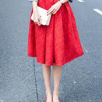Red Jacquard Midi Skirt