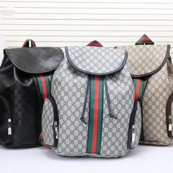 DCCK Gucci' Men Casual Fashion Multicolor Stripe Classic Print Drawstring Backpack Large Capacity Travel Double Shoulder Bag