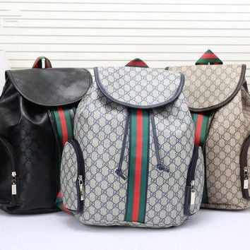 GTOW Gucci' Men Casual Fashion Multicolor Stripe Classic Print Drawstring Backpack Large Capacity Travel Double Shoulder Bag