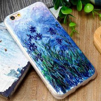 CASEIER Monet Oil Painting Silicone Case for iPhone 7 7 Plus Case iPhone 6 6S Plus 5 5S SE Cases Soft Silicone Girly Retro Coque