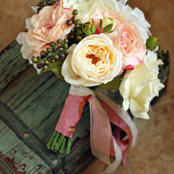 Pink and Ivory Lace Rustic Chic Wedding Bouquet