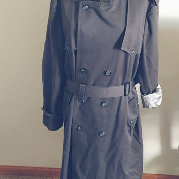 Vintage, Christian Dior, Le Connaisseur, Charcoal Gray, Mens, Trench, Water Resistent, Double Breasted, Size 44 L, Unisex, Plus Size, Coat