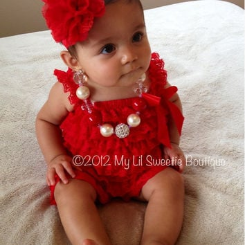 Red Vintage Lace Petti Romper Newborn From Mylilsweetieboutique