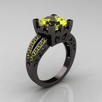 French Vintage 14K Black Gold Princess Yellow Topaz Solitaire Wedding Ring R222-BGYT