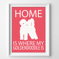 "8x10"" Goldendoodle Wall Art, Illustrated Dog Art, Goldendoodle Decor, Dog Breed Wall Art, Golden Poodle Art, Poodle Mix, Goldendoodle Gift"