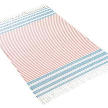 MILAS BEACH TOWELS | French Blue+Coral
