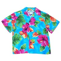 hoopla blue hawaiian boy shirt