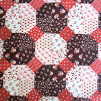 Brown and rust calico quilt block fabric/ vintage fake quilt block print/ 70s/ 80s style cute little flower print/ sold by the yard