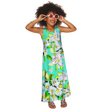Flower Party Bella Green Empire Waist Resort Summer Maxi Dress - Girls