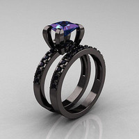AMAZING 3.25CTW PURPLE PRINCESS 925 STERLING SILVER ENGAGEMENT AND WEDDING RING