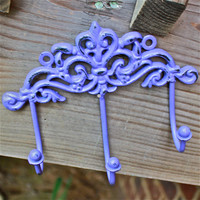 Wall Metal Hook /Bright Purple /Bright Shabby Chic Decor /Ornate Hanger /Key Holder /Bathroom Fixture /Bedroom /Laundry /Nursery
