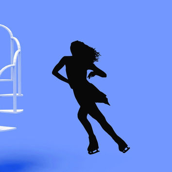 Vinyl Wall Decals Figure Ice Skater Skating Silhouette Sports Decal Sticker Home Decor Art Mural Z660
