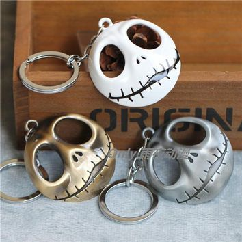 Euro-American Movie The Nightmare Before Christmas Jack Skull Mask Keychain Metal Keychain Antique silver/ White Option 12pc/lot