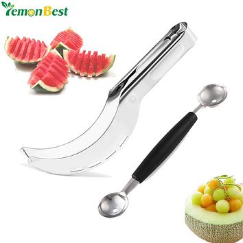 Stainless Steel Watermelon Slicer Fruit Knife Cutter And Ice Cream Ballers Melon Scoop Double Size Spoon Set Kitchen Tools