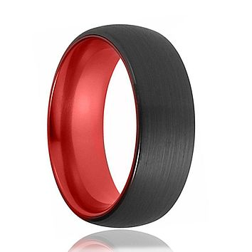 Tungsten Red Ring - Mens Wedding Band - Black Tungsten Brushed - Fire Red Tungsten - Tungsten Wedding Ring - Man Tungsten Ring - 6mm - 8mm