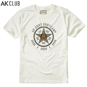 T-shirt Military Style Vintage Army Boot camp Print O-Neck Men T-shirt