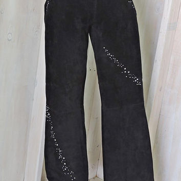 Black suede rhinestone pants / Vintage Wilsons Maxima / Womens leather pants / rockstar / grunge / bell bottoms / size 8 / 9 / 31 X 32