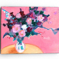 "Still Life Floral Abstract Painting on Small Canvas ""Pink Room with Flowers"""