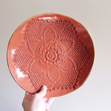 Lace Ceramic Platter - Terracotta Bowl - Fruit Bowl - Large Ceramic Bowl - Gold Ceramics