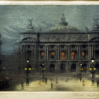 Vintage Color Etching by Victor Valery - Paris Opera at Night