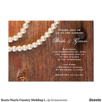 Rustic Pearls Country Wedding Invitation