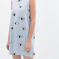 ZARA CELEBRITY EYES PRINTED DRESS WITH BACK ZIP S,M SKY BLUE Ref. 5618/077
