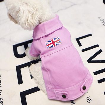 Denim Dog British Jacket Dog Cat Clothes Puppy Jeans Jacket Clothes for Small Pet  Teddy French Bulldog Clothes  XS S M L XL