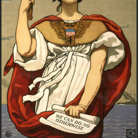 "WWI Poster ""The Sword Is Drawn, The Navy Upholds It!"" / Painted By Kenyon Cox, N"